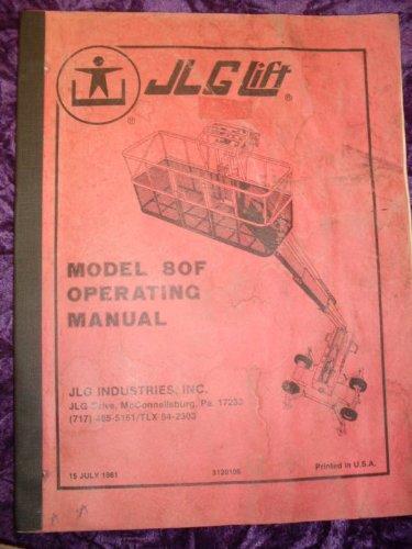 JLG Model 80F Lift OEM OEM Owners Manual