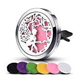 elf oil - INFUSEU Elf Angel Car Aromatherapy Essential Oil Diffuser Stainless Steel Locket Air Freshener + 12 Refill Pads
