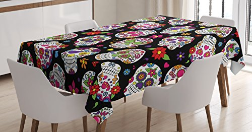 Ambesonne Sugar Skull Tablecloth, Graveyard Mexico Mask Design on Black Backdrop Print, Dining Room Kitchen Rectangular Table Cover, 60