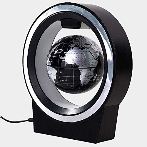 Magnetic Field Levitation - Levitating Globe, O Shape Floating Globe with LED Lights Magnetic Field Levitation World Map Globe Gravity Home Office Desk Decoration (Model: 2224)