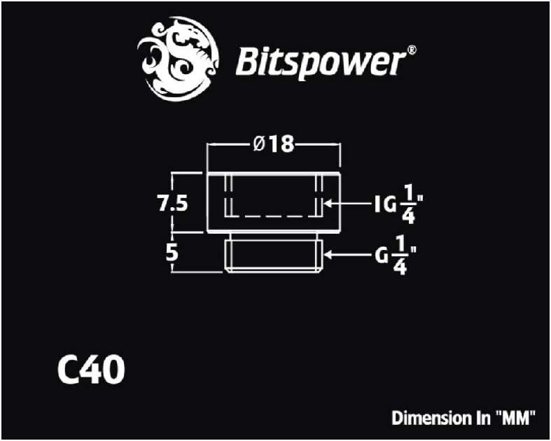 7.5mm Bitspower G1//4 Male to Female Extender Fitting Matte Black