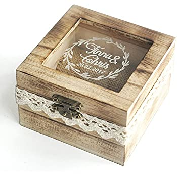 Merveilleux Personalized Wooden Wedding Ring Box,Rustic Wedding Ring Bearer Box,Custom  Ring Holder