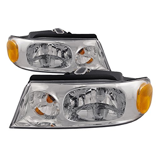 HEADLIGHTSDEPOT Chrome Housing Halogen Headlights Compatible with Lincoln Blackwood Navigator Includes Left Driver and Right Passenger Side Headlamps (Headlight Navigator Lincoln Replacement Oem)