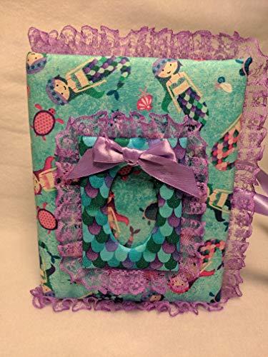 Mermaid Fabric Custom Photo Album for baby girl - Holds 100 4x6 Photos - Handmade