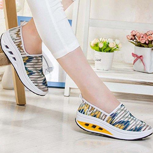 Malla Fondo de Corriendo 35 atléticos Ocasionales Mujeres Amarillo Tamaño de Respirables Gruesos Zapatos Zapatos de Las 40 Deportivos Zapatillas 6qwx1vP