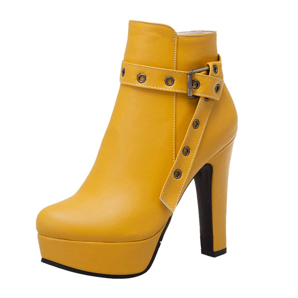 【MOHOLL 】 Women Autumn Round Toe Lace Up Ankle Buckle Chunky High Heel Platform Knight Martin Boots Yellow by ✪ MOHOLL Shoes ➤Clearance Sales