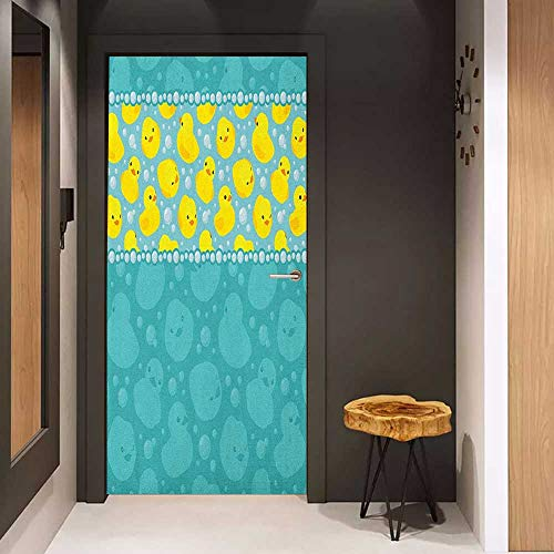 Onefzc Door Sticker Mural Rubber Duck Yellow Cartoon Duckies Swimming in Water Pattern with Fun Bubbles Aqua Colors WallStickers W17.1 x H78.7 Teal Blue -