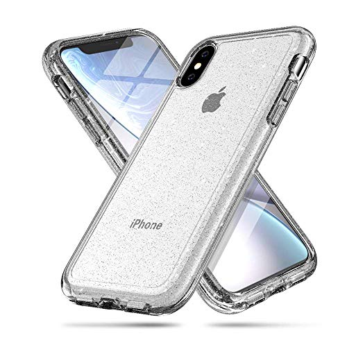 iPhone Xs MAX case, LABILUS (Glitter Series) Hybrid Shining & Hard PC Back Protective Cover Case for Girls Women, Compatible with iPhone Xs MAX (2018) - Clear