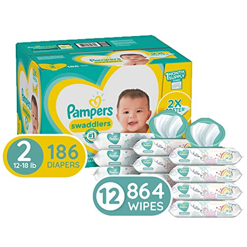 Diapers Size 2, 186 Count and Baby Wipes – Pampers Swaddlers Disposable Baby Diapers, ONE Month Supply with Pampers Sensitive Water Baby Wipes, 864 Count