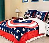 Luk Oil Captain America Bedding Sets 3-piece Children's Duvet Cover Set Single Bed Sheets Set 3pcs(1 Duvet Cover, 1 Bed Sheet,1 Pillow Cases)