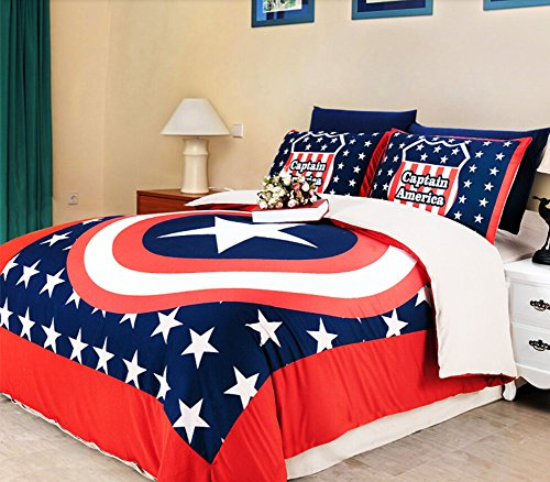 Luk Oil Captain America Bedding Sets 3-piece Children's Duvet Cover Set Single Bed Sheets Set 3pcs(1 Duvet Cover, 1 Bed Sheet,1 Pillow Cases)