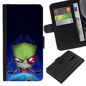 LG G3 D855 D850 D851 , la tarjeta de Crédito Slots PU Funda de cuero Monedero caso cubierta de piel ( Green Monster Evil Ufo Alien Villain Earth Planet)