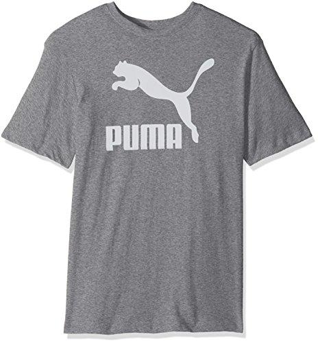 PUMA Mens Archive Life T-Shirt Shirt, Medium Gray Heather-White, L