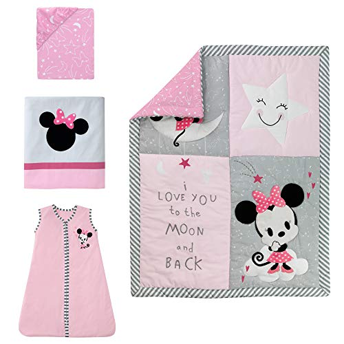 Lambs & Ivy Disney Baby Minnie Mouse 4 Piece Nursery Crib Bedding Set, Pink