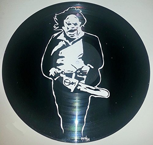 Hand painted original texas chainsaw massarce leather face vinyl record wall art (Texas Chainsaw Vinyl Massacre)