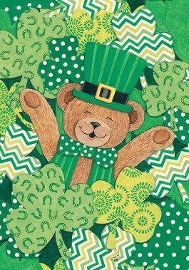 Bear Clovers - Happy St. Pats Day - Standard Size Decorative Flag 28 X 40 Inches