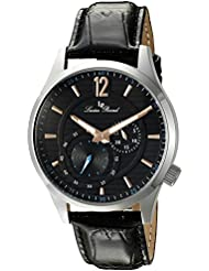 Lucien Piccard Mens Burano Quartz Stainless Steel and Black Leather Casual Watch (Model: LP-40022-01-RA)