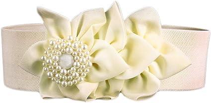 Nanxson Mujer Retro Elastic Wide Pearl Flower Cinturón PDW0050