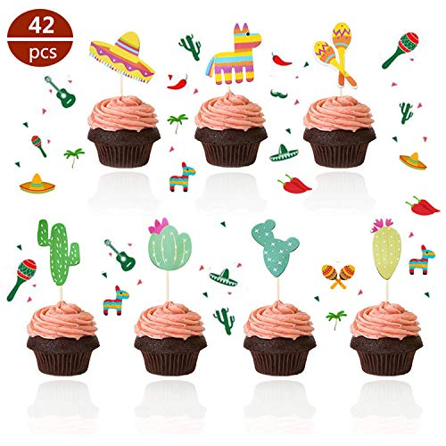 【Set of 42】- Mexican Fiesta Cupcake Toppers, Mexican Custom Pattern Cupcake Picks, Mexican Fiesta Party Cake Decoration for Mexican Themed Cactus Donkey Taco Pepper Sombrero Mustache Party Decorations