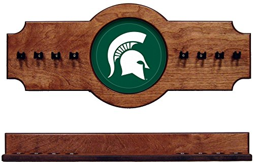 NCAA Michigan State Spartans MSUCRR200-P 2 pc Hanging Wall Pool Cue Stick Holder Rack - Pecan