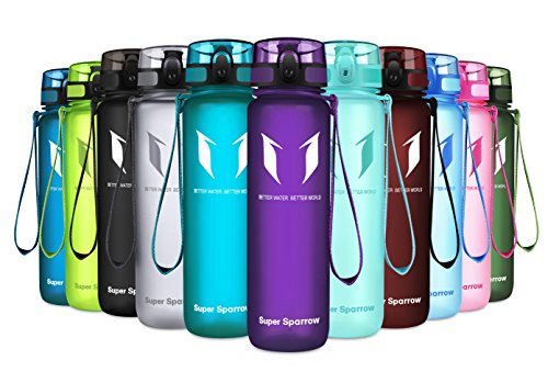 Super Sparrow Sports Water Bottle – 17oz & 32oz – Eco Friendly & BPA-Free Plastic – Fast Water Flow, Flip Top, Opens with 1-Click – Reusable with Leak-Proof Lid (Orchid, 500ml-17oz)