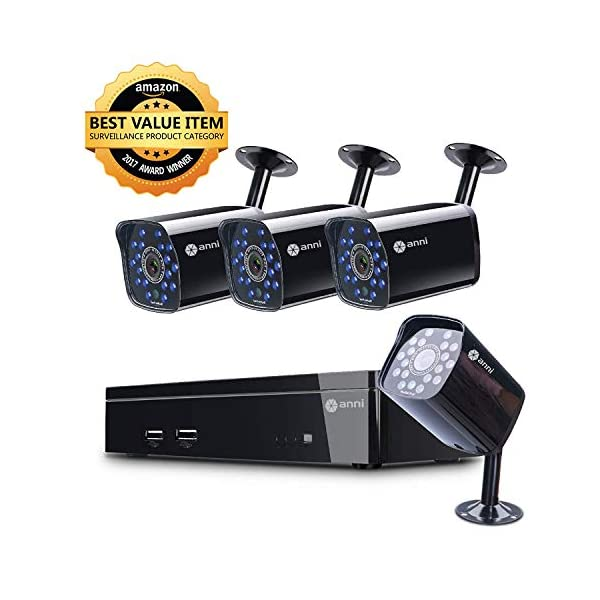 Anni 4-Channel Home Surveillance Kit, 1080N DVR with 4X HD 720P Indoor/Outdoor Weatherproof CCTV Security Cameras, Motion Alert, Smartphone & PC Easy Remote Access, NO Hard Drive