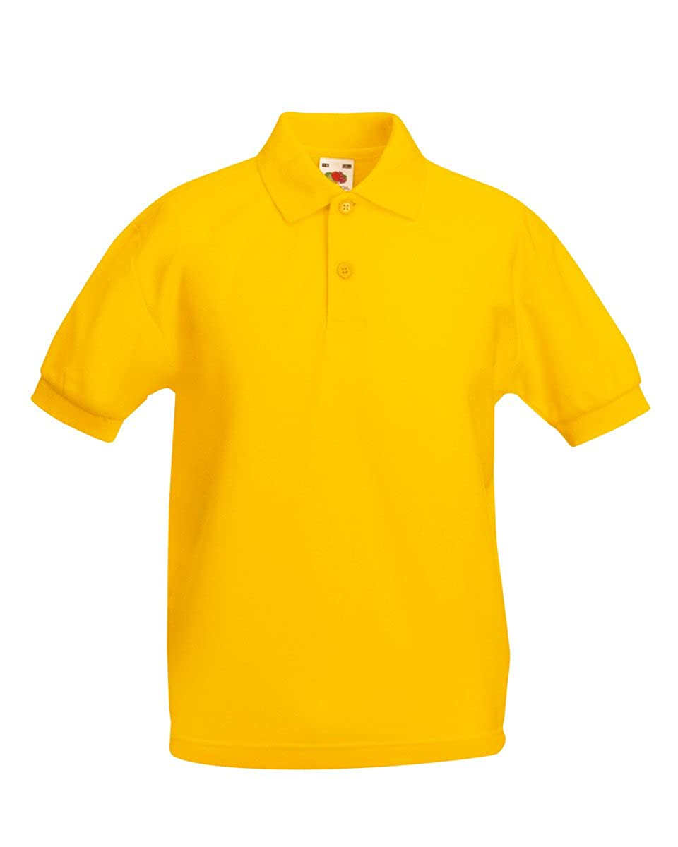Fruit of The Loom Childs//Kids Boys Premium Pique Polo Shirt Classic Plain Polo Short Sleeve Casual Sports Tee Tshirts