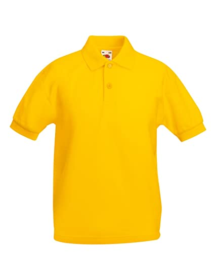 Fruit Of The Loom Kids Childrens 65//35 Pique Polo Shirt Sunflower 7-8 Years