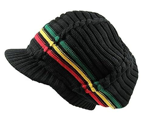 RW 100% Cotton Classic Rasta Slouchy Ribbed Beanie Hats (BLK/RGY/BRIM)