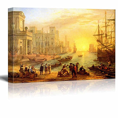 Sea Port at Sunset 1639 by Claude Lorrain Print Famous Oil Painting Reproduction
