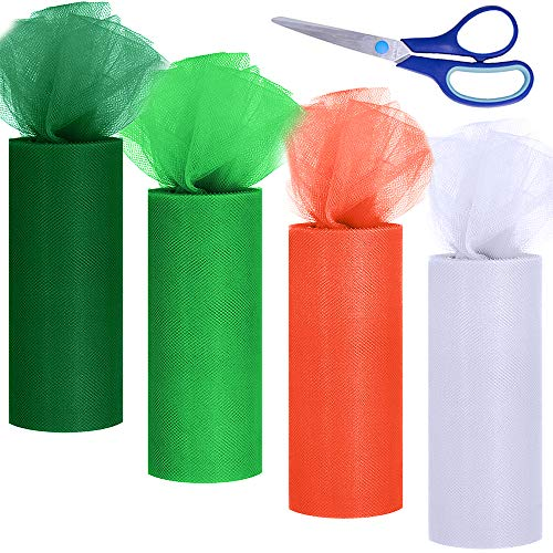 Supla 4 Colors St Patrick's Day Tulle Rolls White Green Orange Fabric Ribbon Tulle Netting Rolls Spool - 6