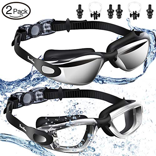 EocuSun Swimming Goggles,2 Pack Swim Goggles,for Women Men Youth Kids Child, Triathlon Goggles with Mirrored & Clear Anti Fog UV Protection Waterproof Lenses and Free Mesh Bag