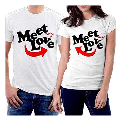 PicOnTshirt Meet My Love Couple T-shirts Men L / Women M White