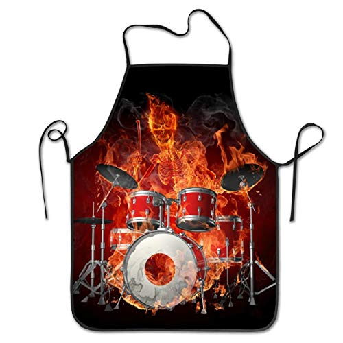 NiYoung Polyester Apron Bib Aprons Extra Long Ties Women Men Chef Lady's Apron for Crafting Cooking, Liquid Drop Resistant, Machine Washablen/Waterproof - Fire Flame Skull Skeleton Rock Drum