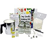 Complete Soy Candle Making Kit - Made with Eco Friendly Soy Wax - Makes 4 x 8 oz Scented Candles in Glass Mason Jars