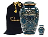 MEMORIALS 4U Caribbean Blue Cremation Urn - Handcrafted Classic Azure Urn for Ashes - Majestic Blue Funeral Urn with Beautiful Gold Etched Design - Large Urn with Free Keepsake & Bag