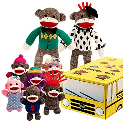 1982954d Amazon.com: Sock Monkey Family School Bus By BryBelly: Toys & Games