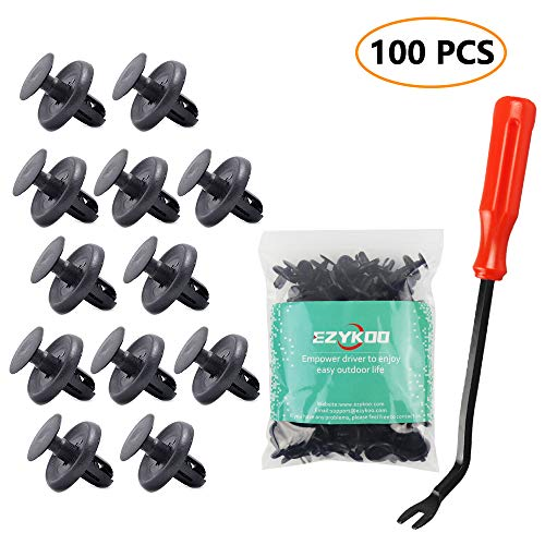 (EZYKOO 100pcs Car Rivets,Nylon Bumper for Lexus Toyota Body Clips,Splash Shield Clips 90467-07201 Replacement Fasteners, Quality Push Fasteners with Bonus Fastener)
