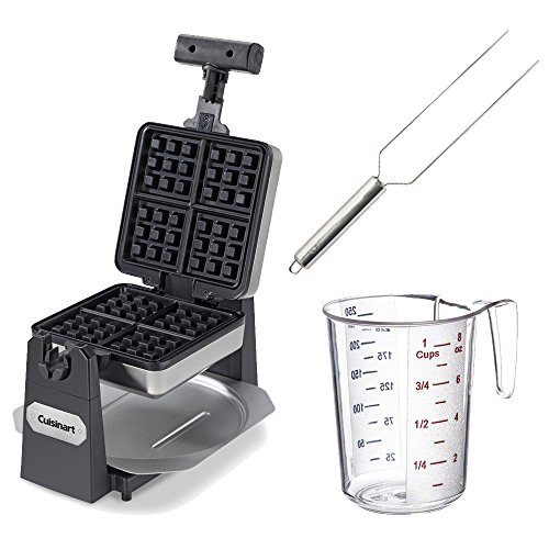 Cuisinart WAF-F15 4-slice Waffle Maker - Square + Waffle Fork + Measuring Cup (Cuisinart 6 Waffle Maker compare prices)