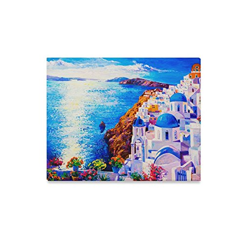 InterestPrint Beautiful European Cityscape Skyline of Oia Santorini Greece Canvas Prints Wall Art Stretched and Framed Abstract Artwork for Home Office Decoration, 20 x 16 - Oia Greece Framed Art Santorini