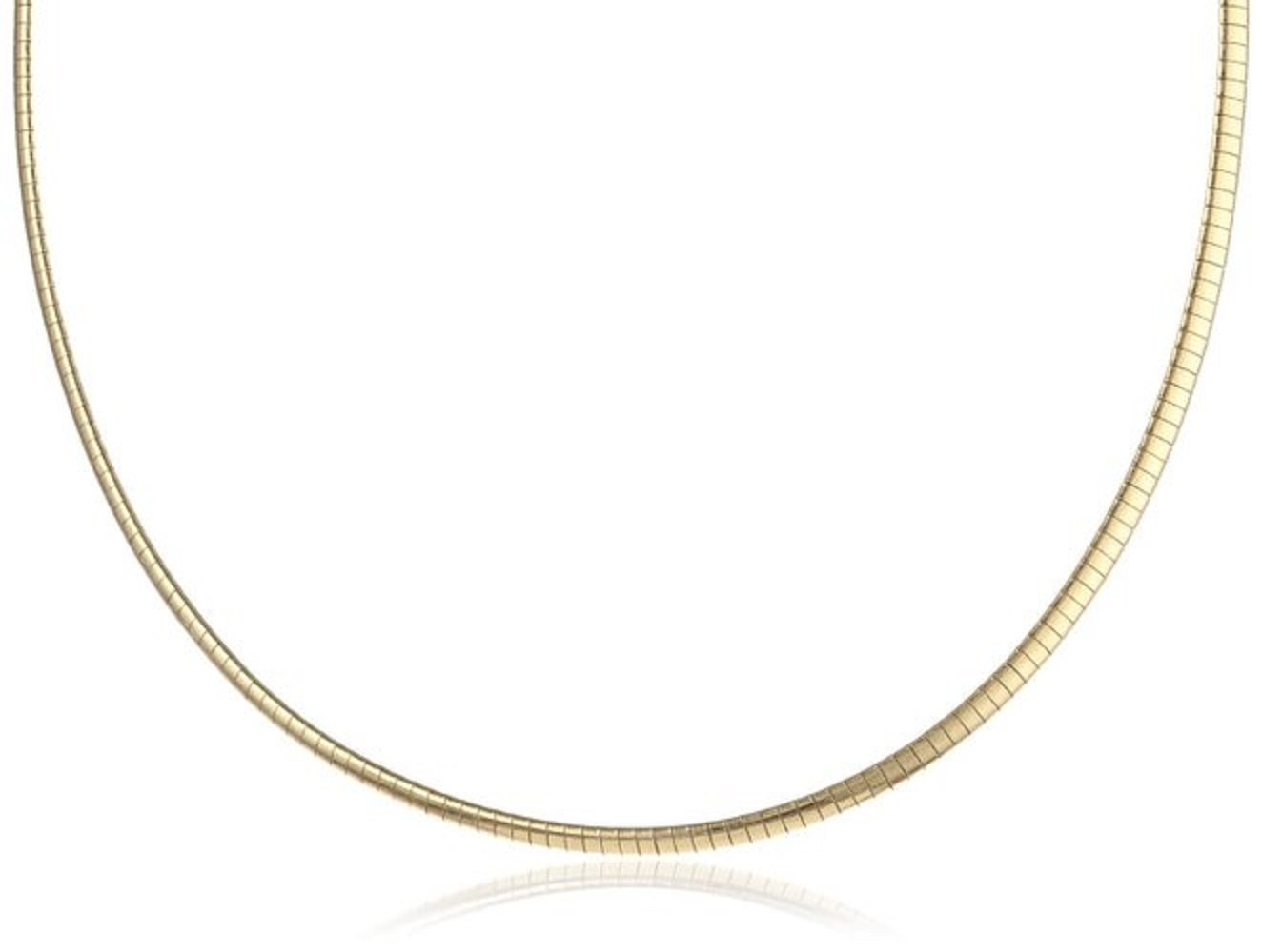 4mm 18K-Gold Plated .925 Sterling Silver FLAT DOME Omega Necklace 16in-18in (.925 Italian Sterling Silver, 16 Inches)