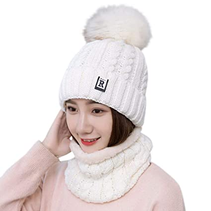 6146de4327b Amazon.com  EnjoCho Fashion Winter Hat Scarf Set for Women Girls Warm  Beanies Ring Scarf Pompoms Winter Hats Knitted Caps and Scarf 2 Pieces Set  (White)  ...