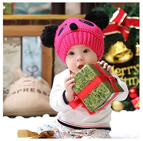 Red Rcool Cute Baby Kids Girls Boys Stretchy Warm Winter Panda Cap Hat Beanie Baby Hat