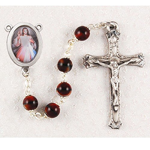 (Divine Mercy 7mm Red Bead Pewter Rosary. Deluxe Gift Boxed)