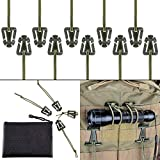 gear 10 - Pack of 10 Tactical Gear Clip Molle Web Dominators for Outdoor Hydration Tube Backpack Straps Management with Zippered Pouch by BOOSTEADY Army Green