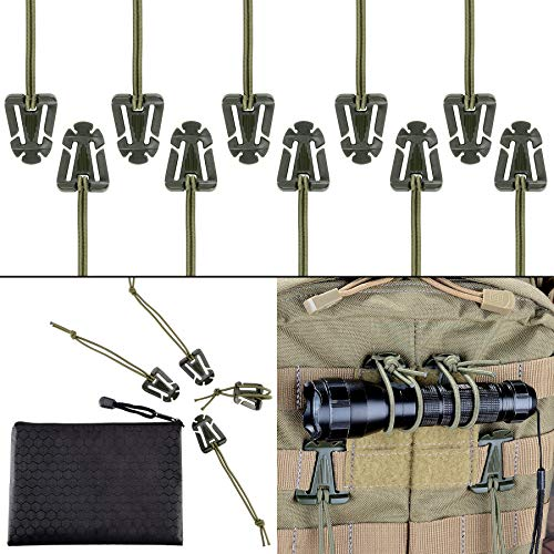 Pack of 10 Tactical Gear Clip Molle Web Dominators for Outdoor Hydration Tube Backpack Straps Management with Zippered Pouch by BOOSTEADY Army Green