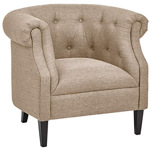 "Ravenna Home Westcott Curved Tufted Rolled Arm Accent Chair, 34""W, Flax"
