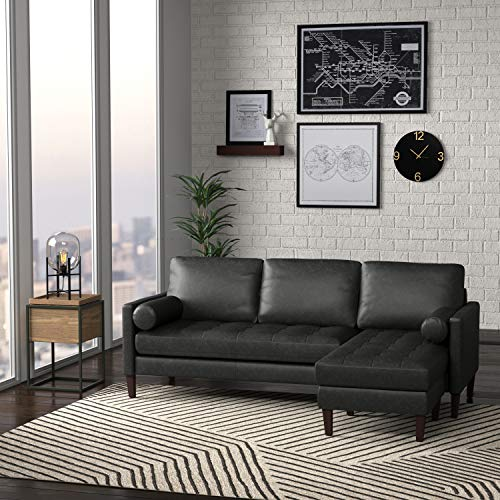 "Rivet Aiden Mid-Century Leather Sectional with Tapered Wood Legs, 86""W, Black"