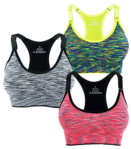 Women's Seamless Wirefree Racerback Adjustable Straps Sports Bra (M, 3 Pack B) ()