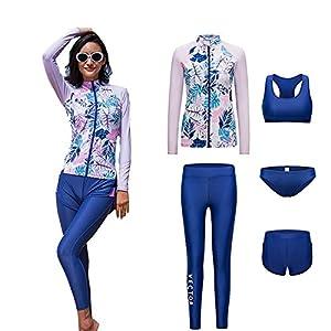 VECTOR 5Pcs Women Long Sleeve Wetsuit Swimsuit Shirt Printed Surfing Pants Diving Snorkeling Suits UPF 50+ UV Sun…